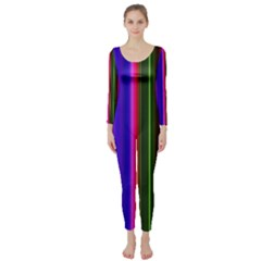 Fun Striped Background Design Pattern Long Sleeve Catsuit