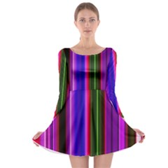 Fun Striped Background Design Pattern Long Sleeve Skater Dress