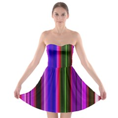 Fun Striped Background Design Pattern Strapless Bra Top Dress