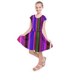 Fun Striped Background Design Pattern Kids  Short Sleeve Dress