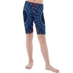 Digital Circle Ornament Computer Graphic Kids  Mid Length Swim Shorts