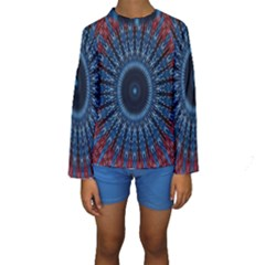 Digital Circle Ornament Computer Graphic Kids  Long Sleeve Swimwear