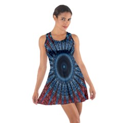 Digital Circle Ornament Computer Graphic Cotton Racerback Dress