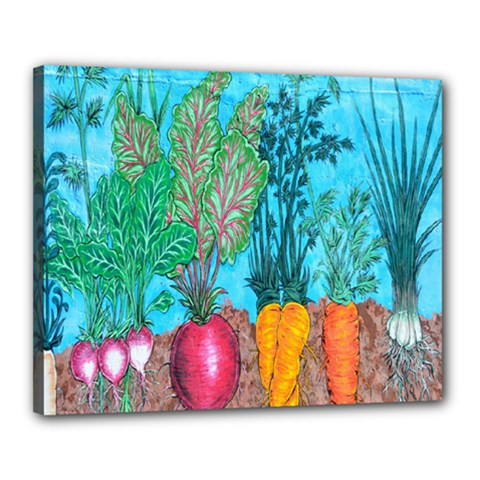 Mural Displaying Array Of Garden Vegetables Canvas 20  X 16