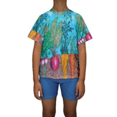 Mural Displaying Array Of Garden Vegetables Kids  Short Sleeve Swimwear