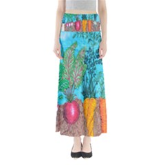 Mural Displaying Array Of Garden Vegetables Maxi Skirts