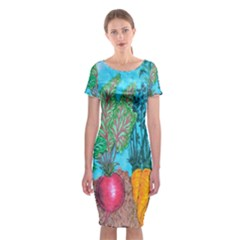Mural Displaying Array Of Garden Vegetables Classic Short Sleeve Midi Dress
