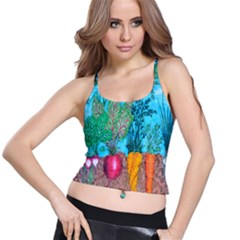 Mural Displaying Array Of Garden Vegetables Spaghetti Strap Bra Top