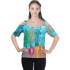 Mural Displaying Array Of Garden Vegetables Women s Cutout Shoulder Tee