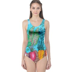 Mural Displaying Array Of Garden Vegetables One Piece Swimsuit