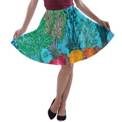 Mural Displaying Array Of Garden Vegetables A-line Skater Skirt