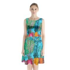 Mural Displaying Array Of Garden Vegetables Sleeveless Chiffon Waist Tie Dress