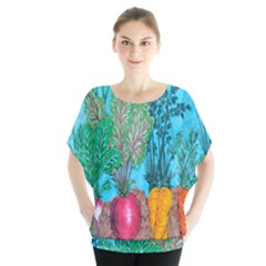Mural Displaying Array Of Garden Vegetables Blouse