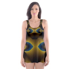 Fractal Multicolored Background Skater Dress Swimsuit