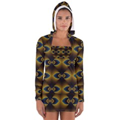 Fractal Multicolored Background Women s Long Sleeve Hooded T-shirt