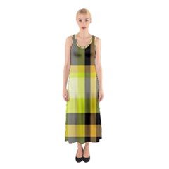 Tartan Pattern Background Fabric Design Sleeveless Maxi Dress