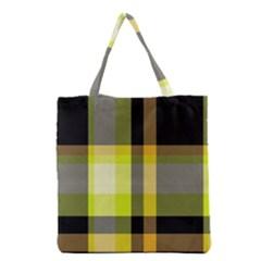 Tartan Pattern Background Fabric Design Grocery Tote Bag