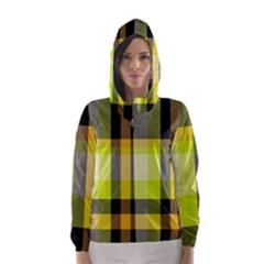 Tartan Pattern Background Fabric Design Hooded Wind Breaker (Women)