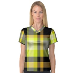 Tartan Pattern Background Fabric Design Women s V-Neck Sport Mesh Tee