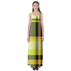 Tartan Pattern Background Fabric Design Empire Waist Maxi Dress