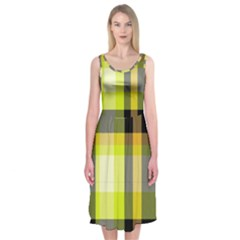 Tartan Pattern Background Fabric Design Midi Sleeveless Dress