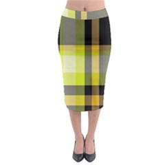 Tartan Pattern Background Fabric Design Midi Pencil Skirt