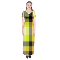 Tartan Pattern Background Fabric Design Short Sleeve Maxi Dress