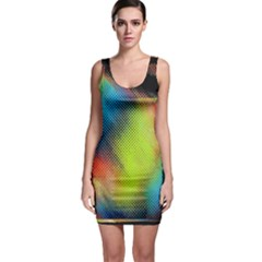 Punctulated Colorful Ground Noise Nervous Sorcery Sight Screen Pattern Sleeveless Bodycon Dress