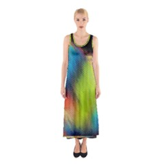 Punctulated Colorful Ground Noise Nervous Sorcery Sight Screen Pattern Sleeveless Maxi Dress