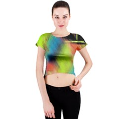 Punctulated Colorful Ground Noise Nervous Sorcery Sight Screen Pattern Crew Neck Crop Top