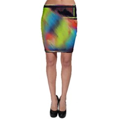 Punctulated Colorful Ground Noise Nervous Sorcery Sight Screen Pattern Bodycon Skirt