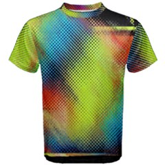Punctulated Colorful Ground Noise Nervous Sorcery Sight Screen Pattern Men s Cotton Tee