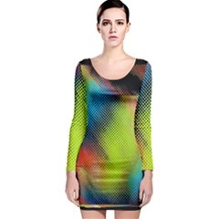 Punctulated Colorful Ground Noise Nervous Sorcery Sight Screen Pattern Long Sleeve Bodycon Dress