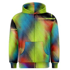 Punctulated Colorful Ground Noise Nervous Sorcery Sight Screen Pattern Men s Zipper Hoodie