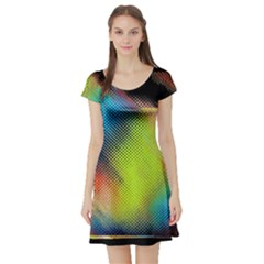 Punctulated Colorful Ground Noise Nervous Sorcery Sight Screen Pattern Short Sleeve Skater Dress