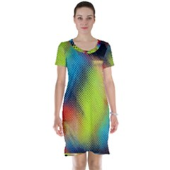 Punctulated Colorful Ground Noise Nervous Sorcery Sight Screen Pattern Short Sleeve Nightdress