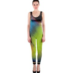 Punctulated Colorful Ground Noise Nervous Sorcery Sight Screen Pattern OnePiece Catsuit