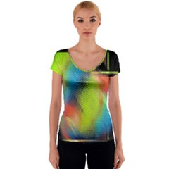 Punctulated Colorful Ground Noise Nervous Sorcery Sight Screen Pattern Women s V-Neck Cap Sleeve Top