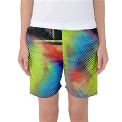 Punctulated Colorful Ground Noise Nervous Sorcery Sight Screen Pattern Women s Basketball Shorts