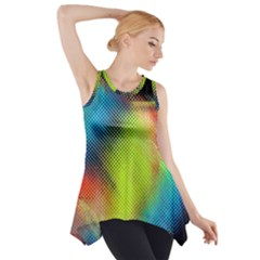 Punctulated Colorful Ground Noise Nervous Sorcery Sight Screen Pattern Side Drop Tank Tunic