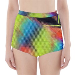 Punctulated Colorful Ground Noise Nervous Sorcery Sight Screen Pattern High Waisted Bikini Bottoms