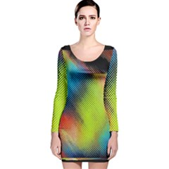 Punctulated Colorful Ground Noise Nervous Sorcery Sight Screen Pattern Long Sleeve Velvet Bodycon Dress