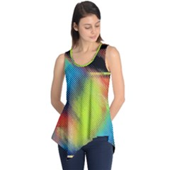 Punctulated Colorful Ground Noise Nervous Sorcery Sight Screen Pattern Sleeveless Tunic
