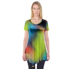 Punctulated Colorful Ground Noise Nervous Sorcery Sight Screen Pattern Short Sleeve Tunic