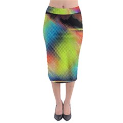Punctulated Colorful Ground Noise Nervous Sorcery Sight Screen Pattern Midi Pencil Skirt