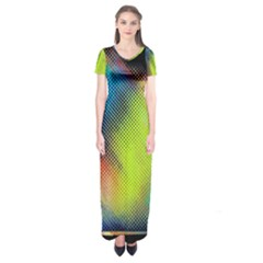 Punctulated Colorful Ground Noise Nervous Sorcery Sight Screen Pattern Short Sleeve Maxi Dress