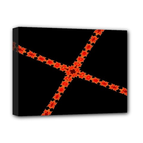 Red Fractal Cross Digital Computer Graphic Deluxe Canvas 16  X 12