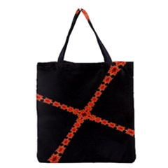 Red Fractal Cross Digital Computer Graphic Grocery Tote Bag
