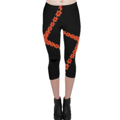 Red Fractal Cross Digital Computer Graphic Capri Leggings