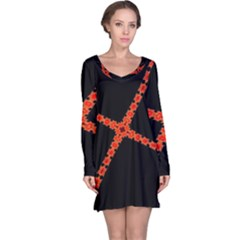 Red Fractal Cross Digital Computer Graphic Long Sleeve Nightdress